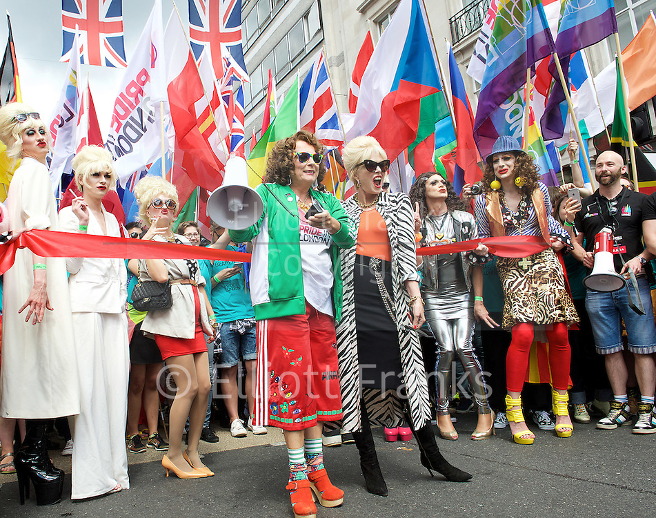 Pride London <br /> setting up before the Parade and during the Parade <br /> London, Great Britain <br /> 25th June 2016 <br /> <br /> Jennifer Saunders and Joanna Lumley <br /> at the start of the parade to promote their AbFab film <br /> <br /> <br /> Photograph by Elliott Franks <br /> Image licensed to Elliott Franks Photography Services