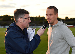 Mark Sampson, England Women head coach chats with matchday announcer, Neil Evans during half-time at Bristol Academy v Birmingham City Ladies- Mandatory by-line: Paul Knight/JMP - Mobile: 07966 386802 - 05/09/2015 -  FOOTBALL - Stoke Gifford Stadium - Bristol, England -  Bristol Academy Women v Birmingham City Ladies FC - FA Women's Super League