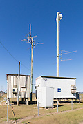 Yagi radio antennas on rural telephone exchange in Gin Gin , Queensland Australia.
