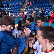 Westchester Knicks Forward Thanasis Antetokounmpo (43) and his teammates huddle together prior to the start of a NBA D-league regular season basketball game between the Delaware 87ers and the Westchester Knicks (New York Knicks) Wednesday, Feb. 17, 2015 at The Bob Carpenter Sports Convocation Center in Newark, DEL