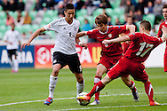 Said Benkarit of Germany vs Rafal Wlodarczyk of Poland during the UEFA European Under-17 Championship Group A semifinal match between Germany and Poland on May 13, 2012 in SRC Stozice, Ljubljana, Slovenia. Germany defeated Poland 1:0. (Photo by Matic Klansek Velej / Sportida.com)