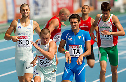 Marko Macuh as a third and Erik Voncina as a fourth Slovenian sprinter compete during  the 4x400m Mens Relay Heats during day five of the 20th European Athletics Championships at the Olympic Stadium on July 31, 2010 in Barcelona, Spain.  (Photo by Vid Ponikvar / Sportida)