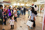 Families pose for photos with a panda during the Chinese New Year celebration at the Great Mall of the Bay Area in Milpitas, California, on February 13, 2016. (Stan Olszewski/SOSKIphoto)
