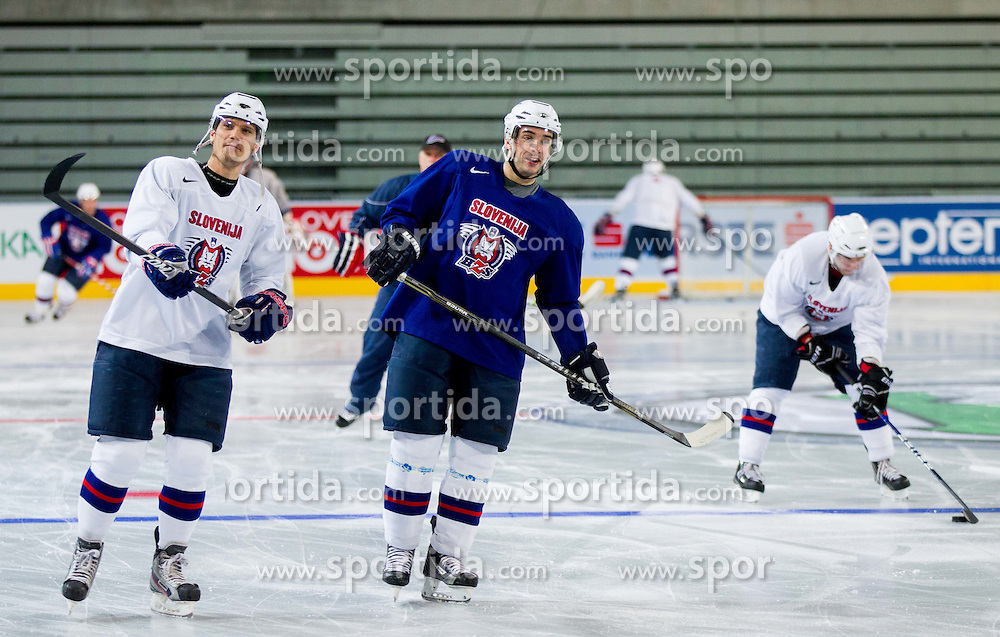Marcel Rodman and Bostjan Golicic during practice session of Slovenian National Ice Hockey team first time in Arena Stozice before 2012 IIHF World Championship DIV I Group A in Slovenia, on April 13, 2012, in Arena Stozice, Ljubljana, Slovenia. (Photo by Vid Ponikvar / Sportida.com)