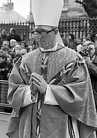 The Archbishop of Dublin Most Recv. Dr. Dermot Ryan at the funeral of the former Archbishop John Charles  McQuaid in the Pro-Cathedral Dublin March 1973. (Part of the Independent Newspapers Ireland/NLI Collection)