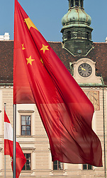 31.10.2011, Innerer Burghof, Wien, AUT, Bundesrepublik Oesterreich, Eintreffen des Praesidenten der Volksrepublik China  Hu Jintao mit seiner Frau Liu Yongqing im Inneren Burghof mit anschließender Begrueßung durch Bundespraesident Dr. Heinz Fischer und Frau Margit Fischer, Empfang mit militaerischen Ehren, im Bild Flagge der Voksrepublik China im inneren Burghof // during the arrival of president of the people's Republic of China Hu Jintao and his wife Liu Yongqing at the inner bailey and the following welcome by federal president Dr. Heinz Fischer and his wife Margit Fischer, Reception with military honours, Innerer Burghof, Vienna, 2011-10-31, EXPA Pictures © 2011, PhotoCredit: EXPA/ M. Gruber