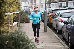 © Licensed to London News Pictures. 09/01/2018. London, UK. Former Secretary of State for Education JUSTINE GREENING seen running the morning after resigning form government. The Conservative MP for Putney, South London, refused to take a new role at the department of Work and Pensions in yesterdays cabinet reshuffle. Photo credit: Ben Cawthra/LNP