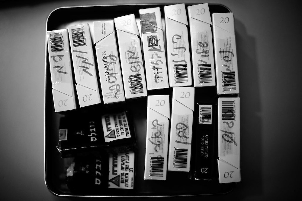 Patients' Cigarette boxes are placed in on a tray at the nurses station in the Shaar Menashe Mental Health Center for Holocaust survivors in Pardes Hanna, Israel on Oct 20, 2010.