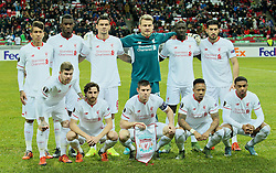 KAZAN, RUSSIA - Thursday, November 5, 2015: Liverpool's players line up for a team group photograph before the UEFA Europa League Group Stage Group B match against FC Rubin Kazan at the Kazan Arena Back row L-R: Roberto Firmino, Christian Benteke, Dejan Lovren, goalkeeper Simon Mignolet, Mamadou Sakho, Emre Can. Front row L-R: Alberto Moreno, Joe Allen, James Milner, Nathaniel Clyne, Jordon Ibe. (Pic by Oleg Nikishin/Propaganda)