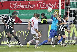 """28.01.2012, SGL Arena, Augsburg, GER, 1. FBL, FC Augsburg vs 1. FC Kaiserslautern, 19. Spieltag, im Bild Sascha MOELDERS (# 33, FC Augsburg) 2.v.l. vergibt eine 100% Chance. Rodnei (# 20, Kaiserslautern), Torhueter Kevin TRAPP (# 29, Kaiserslautern) und Alexander BUGERA (# 17, Kaiserslautern) muessen nicht eingreifen v.l. // during the football match of the german """"Bundesliga"""", 19th round, between FC Augsburg and 1. FC Kaiserslautern, at the SGL Arena, Augsburg, Germany on 2012/01/28. EXPA Pictures © 2012, PhotoCredit: EXPA/ Eibner/ Peter Fastl..***** ATTENTION - OUT OF GER *****"""