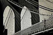 Close-up picture of the Brooklyn Bridge cables in Brooklyn, New york, 2009.