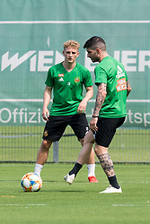 20.06.2019, Ernst Happel Stadion, Wien, AUT, 1. FBL, SK Rapid Wien, Trainingsauftakt, im Bild Manuel Thurnwald (SK Rapid Wien) und Taxiarchis Fountas (SK Rapid Wien) // during a training session of Austrian tipico Bundesliga Club SK Rapid Wien Ernst Happel Stadion in Wien, Austria on 2019/06/20. EXPA Pictures © 2019, PhotoCredit: EXPA/ Michael Gruber