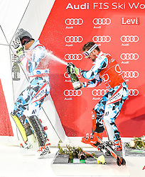 13.11.2016, Black Race Course, Levi, FIN, FIS Weltcup Ski Alpin, Levi, Slalom, Herren, Siegerehrung, im Bild 2. Platz Michael Matt (AUT) und Sieger Marcel Hirscher (AUT) // 2nd placed Michael Matt of Austria and Winner Marcel Hirscher of Austria  during Winner Award Ceremony of mens Slalom of FIS ski alpine world cup at the Black Race Course in Levi, Finland on 2016/11/13. EXPA Pictures © 2016, PhotoCredit: EXPA/ Nisse Schmidt<br /> <br /> *****ATTENTION - OUT of SWE*****
