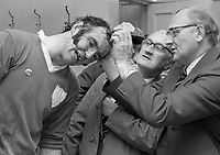 974-29<br /> Pictures taken in the Limerick dressing room at Croke Park after the All-Ireland Hurling Final.<br /> September 1974.<br /> (Part of the Independent Newspapers Ireland/NLI collection.)