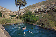 A Palestinian youth from Hebron enjoys a swim in Ein Farha, considered to be one of the most beautiful nature spots in the entire West Bank. It, like many other nature reserves and heritage sites, is occupied by the Israeli Nature and Parks Authority. Palestinian tourist enterprises are not allowed.