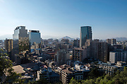 Wide-angle city view from Cerro Santa Lucia, Santiago, Chile.