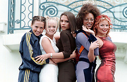 The Spice Girls pose outside the Martinez Hotel in Cannes, during the 50th Cannes Film Festival, to promote their new movie 'Spice the Movie' which will be filmed in London in June.
