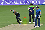 Sam Curran (Surrey) bowling during the Royal London 1 Day Cup match between Surrey County Cricket Club and Kent County Cricket Club at the Kia Oval, Kennington, United Kingdom on 12 May 2017. Photo by Jon Bromley.