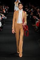 Mica Arganaraz (DNA) walks the runway wearing Altuzarra Fall 2015 during Mercedes-Benz Fashion Week in New York on February 14, 2015