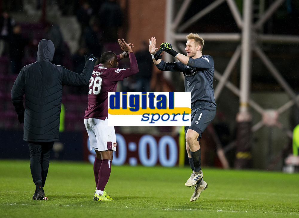 Football - 2019 / 2020 William Hill Scottish Cup - Quarter-Final: Heart of Midlothian vs. Rangers<br /> <br /> Zdenek Zlamal of Hearts and Clevid Dikamona of Hearts at full time, at Tynecastle Park, Edinburgh.<br /> <br /> COLORSPORT/BRUCE WHITE