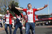 Football - 2017 / 2018 FA Cup - Semi Final: Chelsea vs. Southampton<br /> <br /> Some happy Saints fans before kick off at Wembley Stadium <br /> <br /> COLORSPORT/SHAUN BOGGUST