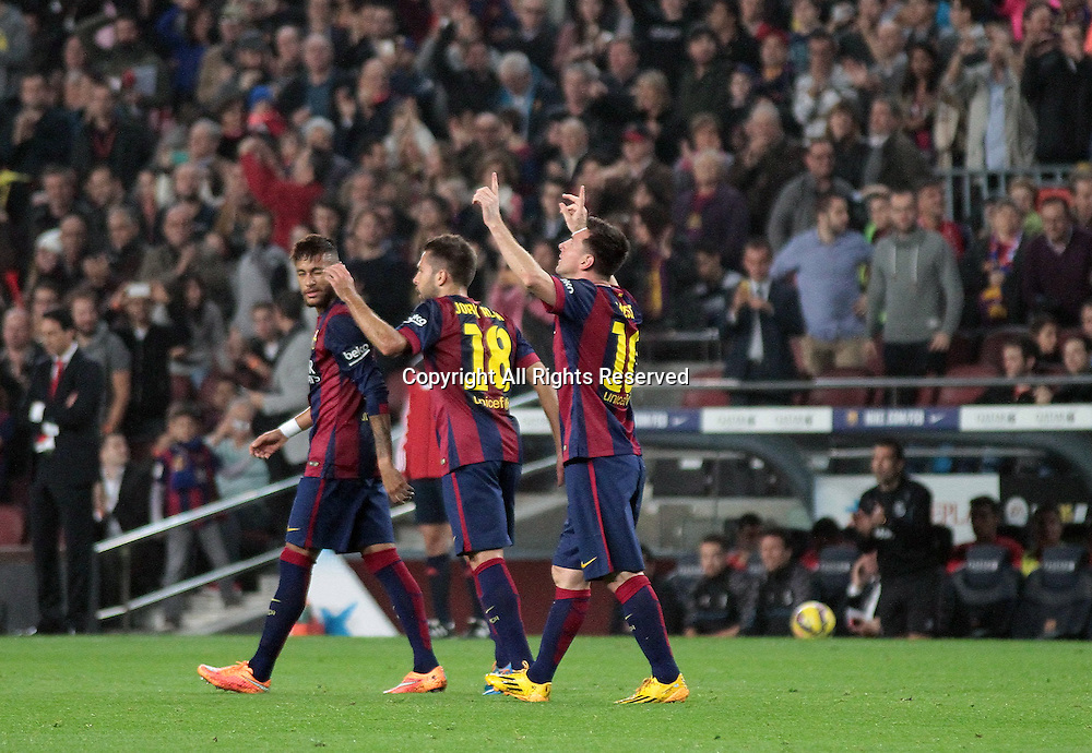 22.11.2014. Barcelona. Spain, La Liga football. Barcelona versus Sevilla. Messi celebrates his goal directly from a free-kick for the games first goal