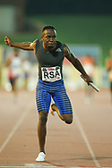 JOHANNESBURG, SOUTH AFRICA - MARCH 22: Akani Simbine anchors the mens 4x100m relay home during the ASA Speed Series 4 at Germiston Stadium on March 22, 2017 in Johannesburg, South Africa. (Photo by Roger Sedres/ImageSA)
