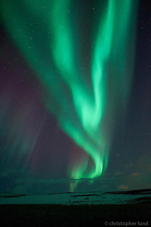 Northern lights on Hólasandur, North Iceland.