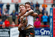Bradford Bulls winger Ethan Ryan (2) celebrates scoring the final try of the game during the Betfred League 1 match between Keighley Cougars and Bradford Bulls at Cougar Park, Keighley, United Kingdom on 11 March 2018. Picture by Simon Davies.
