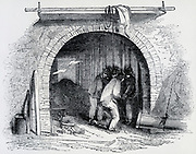 Westminster gas works, Horseferry Road, London: view through the retort house. Engraving 1842.