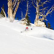 Hadley Hammer skis blue bird powder in the Tetons of Wyoming.