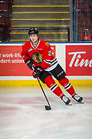 KELOWNA, BC - MARCH 03:  Kade Nolan #2 of the Portland Winterhawks warms up with the puck against the Kelowna Rockets at Prospera Place on March 3, 2019 in Kelowna, Canada. (Photo by Marissa Baecker/Getty Images)