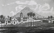 San Jose de Chiquitos, Bolivia, established by the Jesuits in 1698. 19th century engraving.