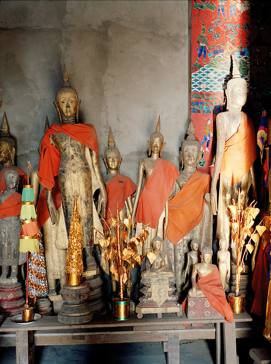 Buddhas at the Royal Funeral chapel at Wat Xieng Thong.