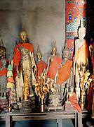 Buddhas at the Royal Funeral chapel at Wat Xieng Thong.