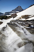 MT00134-00...MONTANA - Renolds Mountain and waterfall at Logan Pass in Glacier National Park,
