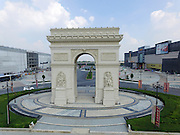 ZHENGZHOU, CHINA - AUGUST 13:<br /> <br />  Aerial view of a replica of the French Triumphal Arch on a square of a furnishing shopping mall on August 13, 2016 in Zhengzhou, Henan Province of China. A furnishing shopping mall set up a replica of the French Triumphal Arch with the same scale on its European style square in Zhengzhou. <br /> Exclusivepix Media