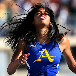 Bishop Amat High School's Kylie Price after finishing in second place in the 200 meter race during the CIF-SS Track and Field Finals at Cerritos College on Saturday, May 22, 2010 in Cerritos.