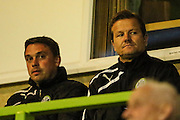 Forest Green Rovers new manager, Mark Cooper and caretaker manager, Scott Bartlett during the Glos Senior Cup Final match between Forest Green Rovers and Bishops Cleeve at the New Lawn, Forest Green, United Kingdom on 2 May 2016. Photo by Shane Healey.