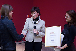 Sara Isakovic gets a Sporto conference award from Maja Makovec Brencic at press conference when she has signed a contract with SI Sport, on December 22, 2008, Grand hotel Union, Ljubljana, Slovenia. (Photo by Vid Ponikvar / SportIda).