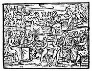 Witches and sorcerers feasting at the Sabbath. Woodcut from Francesco Maria Guazzo 'Compendium Maleficarum', Milan, 1608.