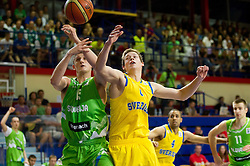 Gezim Morina of Slovenia vs Viktor Gaddefors of Sweden during basketball match between National teams of Sweden and Slovenia in First Round of U20 Men European Championship Slovenia 2012, on July 13, 2012 in Domzale, Slovenia. (Photo by Vid Ponikvar / Sportida.com)