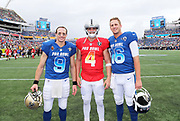 Jan 28, 2018; Orlando, FL, USA; NFC quarterback Drew Brees of the New Orleans Saints (9) AFC quarterback Derek Carr of the Oakland Raiders (4) and NFC quarterback Jared Goff of the Los Angeles Rams (16) pose for a photo before playing in the 2018 NFL Pro Bowl at Camping World Stadium. The AFC defeated the NFC 24-23. (Steve Jacobson/Image of Sport)