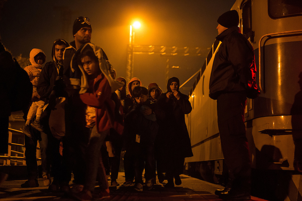 26.10.2015, train station in Kljuc-Brdovecki, where croatian police waiting for new group of refugees, arround 1500 people and directing them to the crossing point on river Sotla to Slovenia.