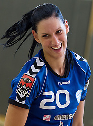 Alja Koren of Krim celebrates after the last game of 1st A Slovenian Women Handball League season 2011/12 between ZRK Krka and RK Krim Mercator, on May 8, 2012 in Stopice at Novo mesto, Slovenia. RK Krim Mercator became Slovenian National Champion, GEN-I Zagorje placed second and ZRK Krka placed third. (Photo by Vid Ponikvar / Sportida.com)
