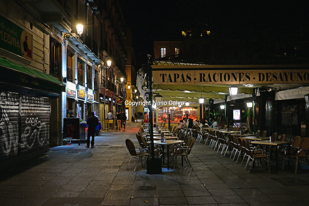 Tapas bars at night in Granada, Spain