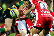 Greg Laidlaw of Gloucester Rugby gets his pass through during the Aviva Premiership match at Franklin's Gardens, Northampton<br /> Picture by Andy Kearns/Focus Images Ltd 0781 864 4264<br /> 05/09/2014