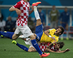 Jun 12, 2014 - Sao Paulo, Brasil - NEYMAR of Brazil lands on top of VEDRAN CORLUKA of Croatia during the opening match of World Cup 2014 at Arena Corinthians. (Credit Image: © Jonne Roriz/Fotoarena/ZUMAPRESS.com)