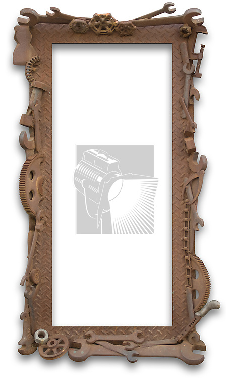 Frame of rusted industrial parts and tools