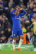 Chelsea midfielder Willian (22) gestures with a heart after scoring a goal (1-0) during the Champions League match between Chelsea and Barcelona at Stamford Bridge, London, England on 20 February 2018. Picture by Martin Cole.